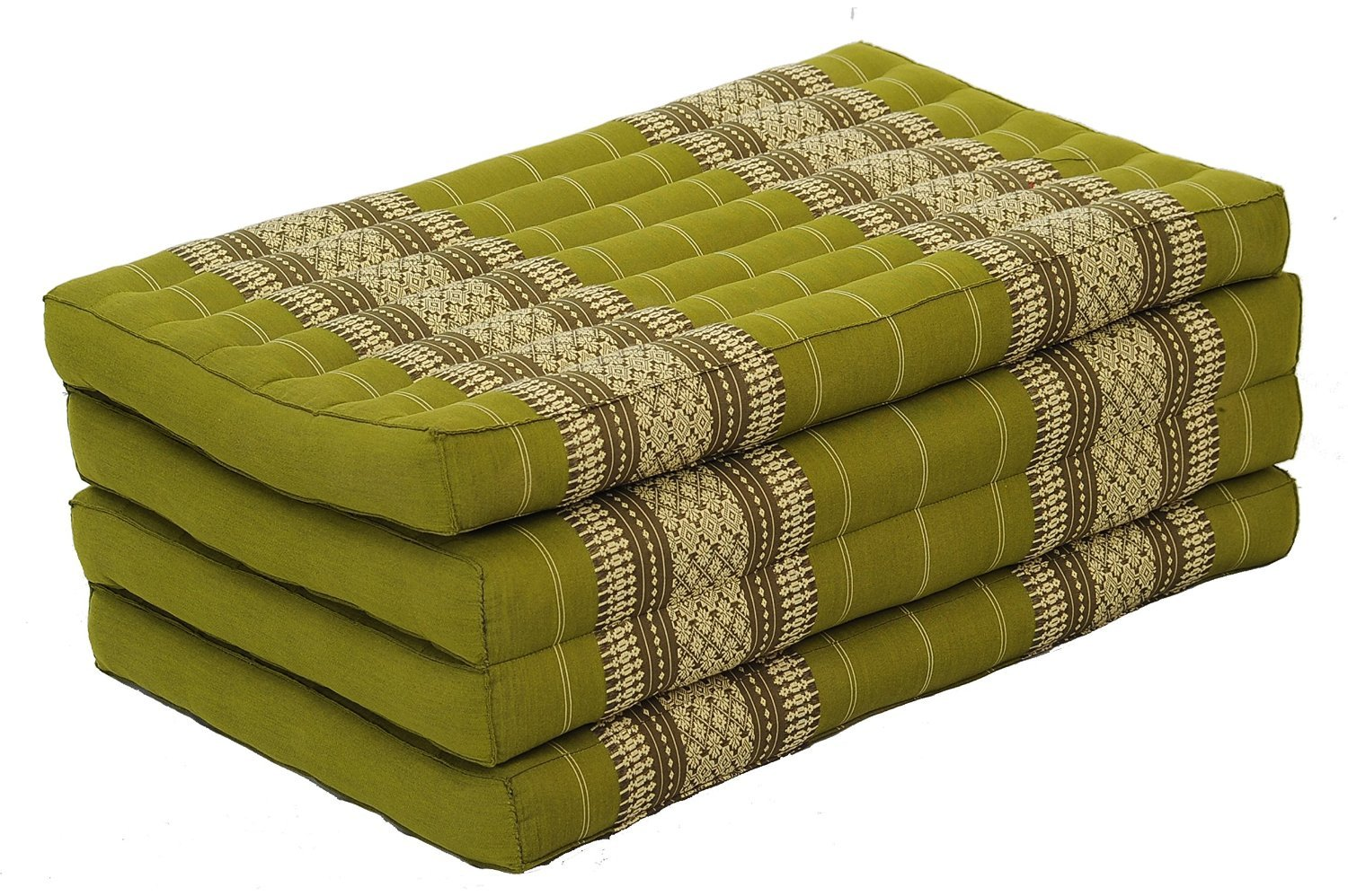 Thai Massage Mat XL, 82x46x3 inches, Kapok Fabric, Green Bamboo , Premium Double Stitched by thailand kaikeng