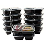 Amazon Price History for:Bento Lunch Boxes with Lids - 2 Compartment Microwave, Freezer and Dishwasher Safe Food Storage and Meal Prep Containers - Stackable, BPA Free, 12 Pack - by HomEquip