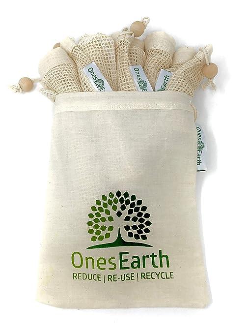 OnesEarth - Juego de 5 bolsas de malla de algodón + 1 bolsa ...