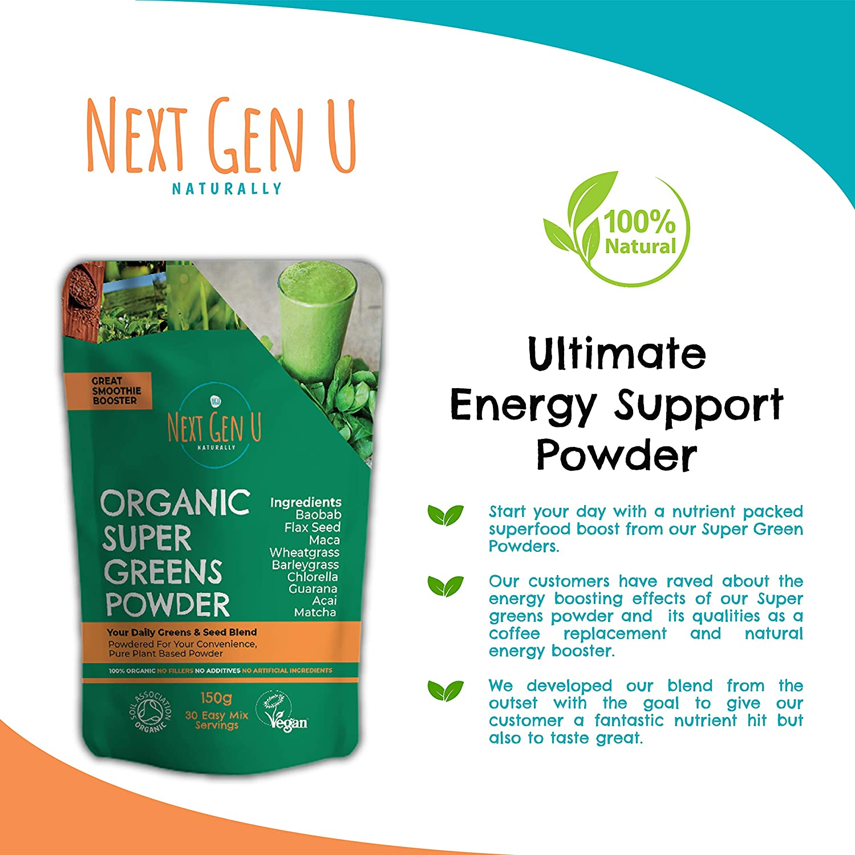Next Gen U | Polvo orgánico Super Greens 150 g | Suplemento de jugo de desintoxicación Smoothie verde vegano | Acelerador de energía comprobado | Más ...