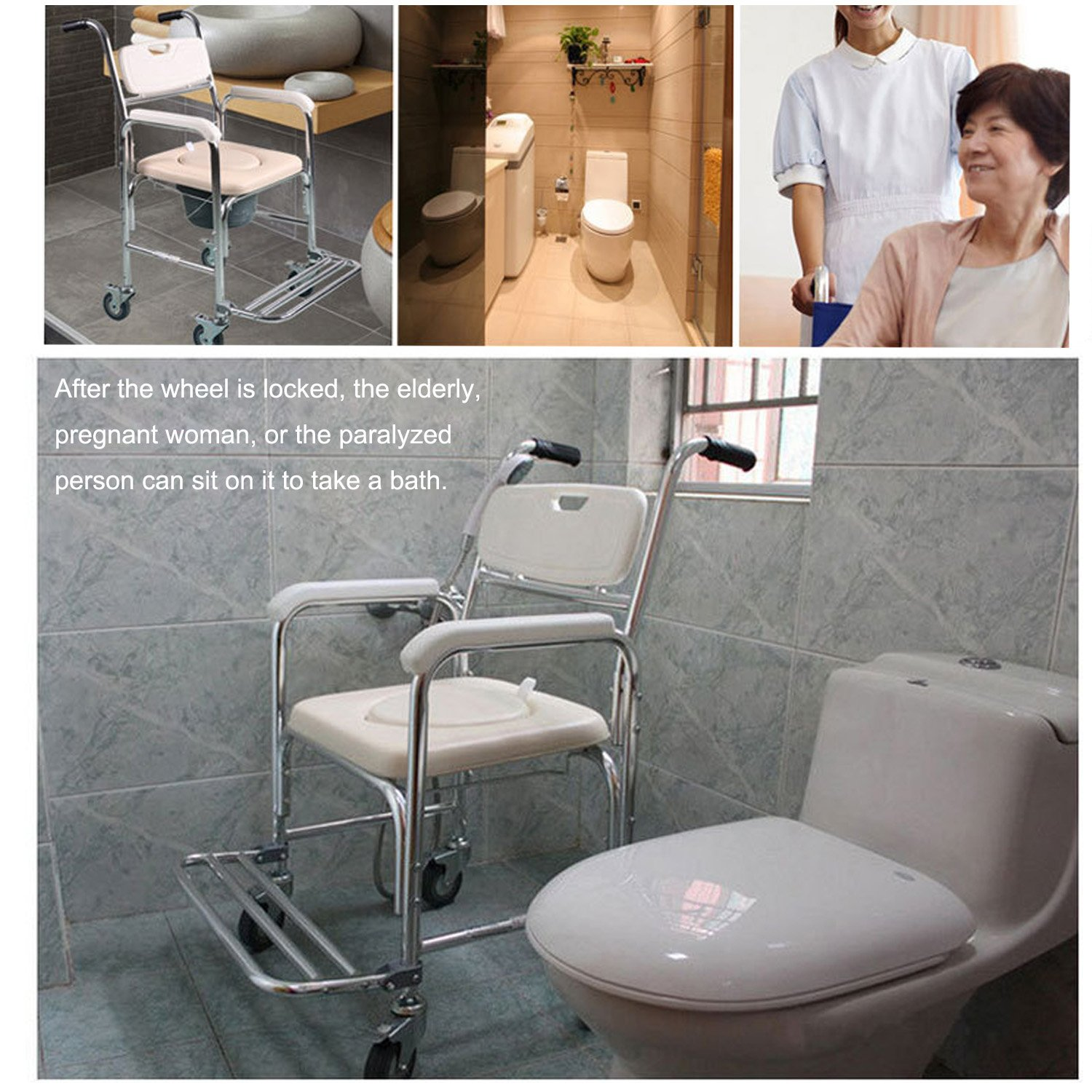 9af2c8f91245e ... Tcare Multi-Function Transport Wheelchair - Can be Used as Shower Chair,  Padded Toilet Seat and Wheelchair, for Paralyzed Patients, Elderly and  Pregnant ...