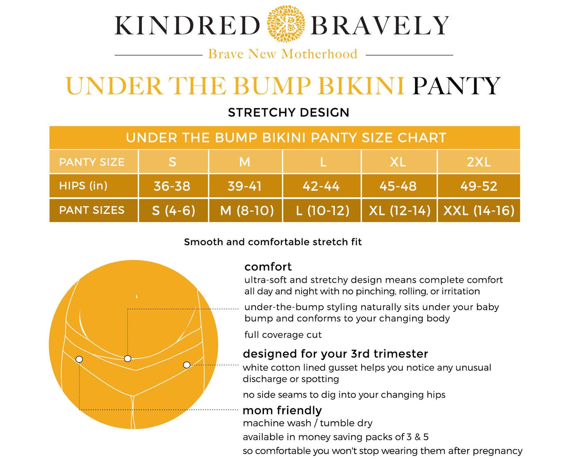Kindred Bravely Under The Bump Seamless Maternity Underwear/Pregnancy Panties - Bikini (Large Assorted, 5 Pack) by Kindred Bravely (Image #7)