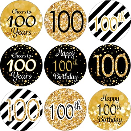 Amazon.com: 100th Fiesta de cumpleaños Favor pegatinas – Oro ...