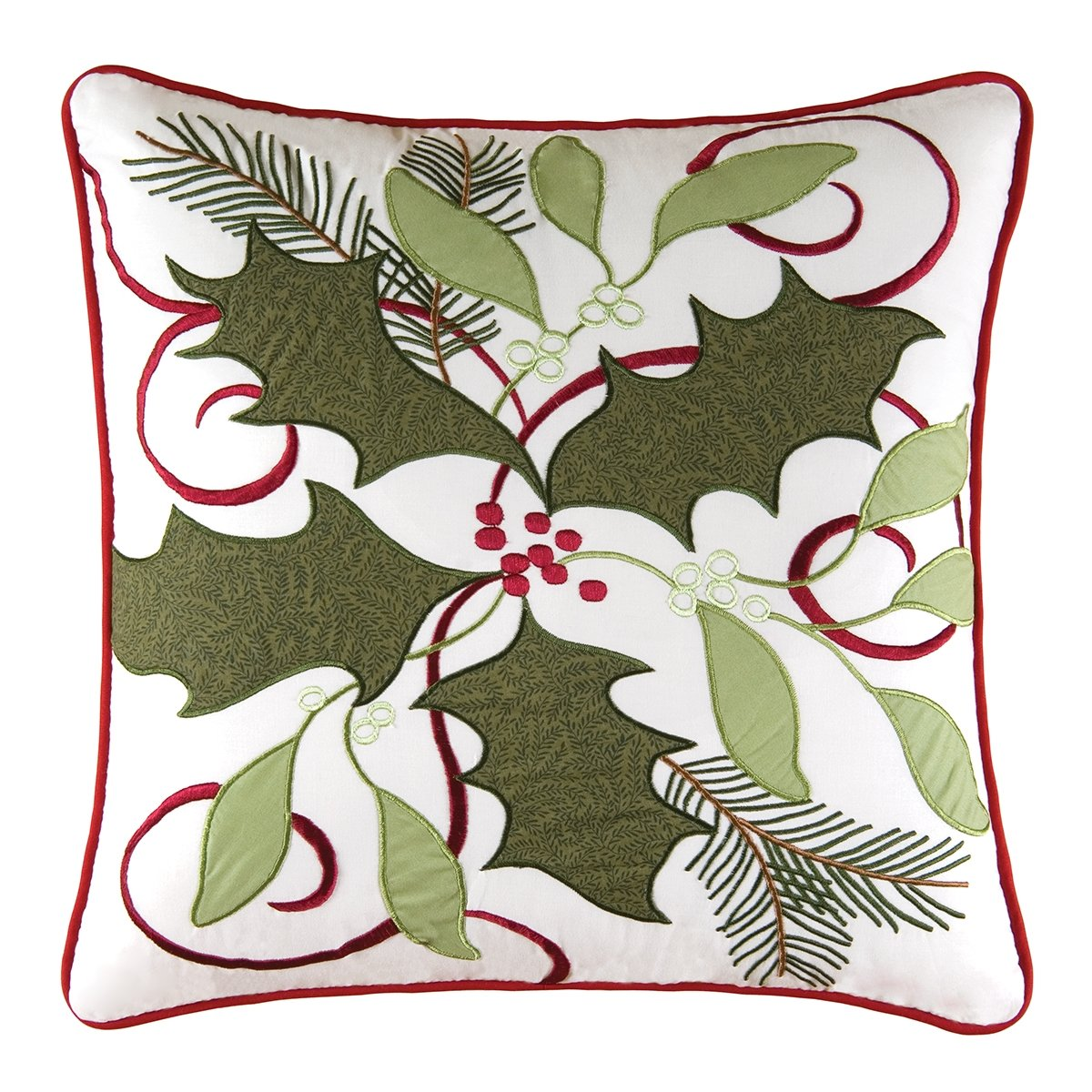 Holiday Decor 18'' Cotton Embroidered Holiday Garland Pillow with Polyester Filling