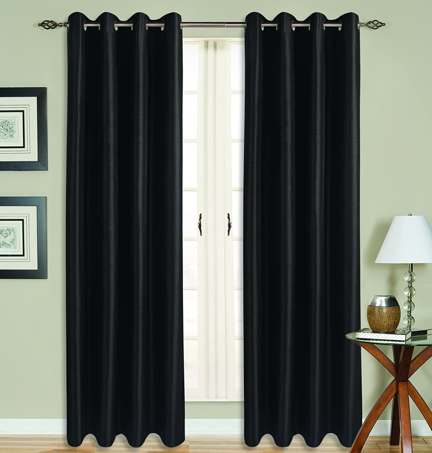 All American Collection New 2 Panel Curtain Set Solid Faux Silk Blackout with 8 Grommets Black