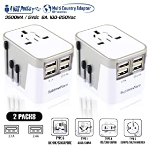 Power Plug Adapter - International Travel - (Pack of 2) w/4 USB Ports Work for 150+ Countries - 220 Volt Adapter - Travel Adapter Type C Type A Type G Type I f for UK Japan China EU Europe European