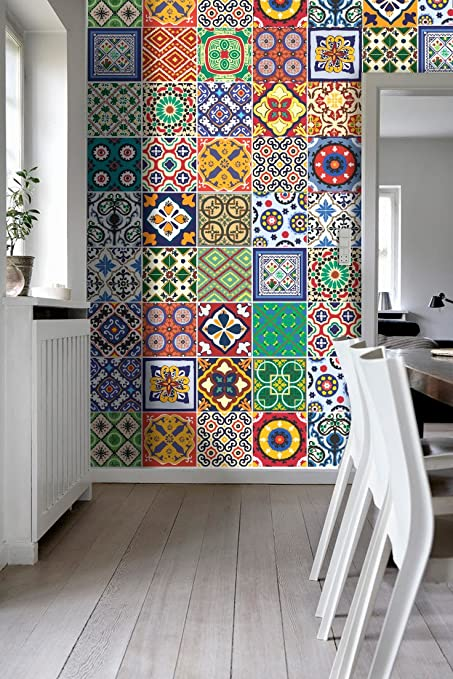 Amazon.com: Tiles Stickers Decals - Packs with 48 Tiles (7.9 x 7.9 ...