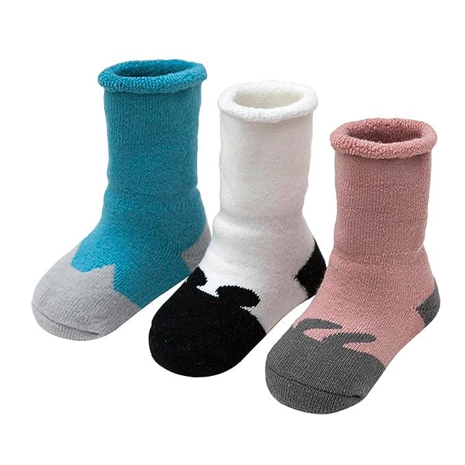 ANIMQUE Bebé Calcetines invierno para 0-36 meses niños y niñas pequeños Calcetines suave gruesos de algodón cálido calcetines de becerro 3 pares animal ...