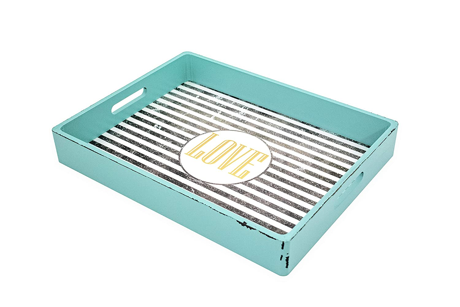 Blu Monaco Wood Serving Tray - Ottoman Tray - with Carrying Handles - Country Rustic Teal with Black and White Stripes - Love Printed in Gold in Center Circle