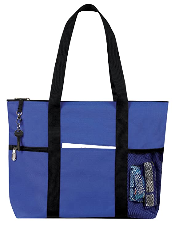 amazoncom zipper travel tote sports gym bag royal blue by bags for less clothing - Travel Tote Bags