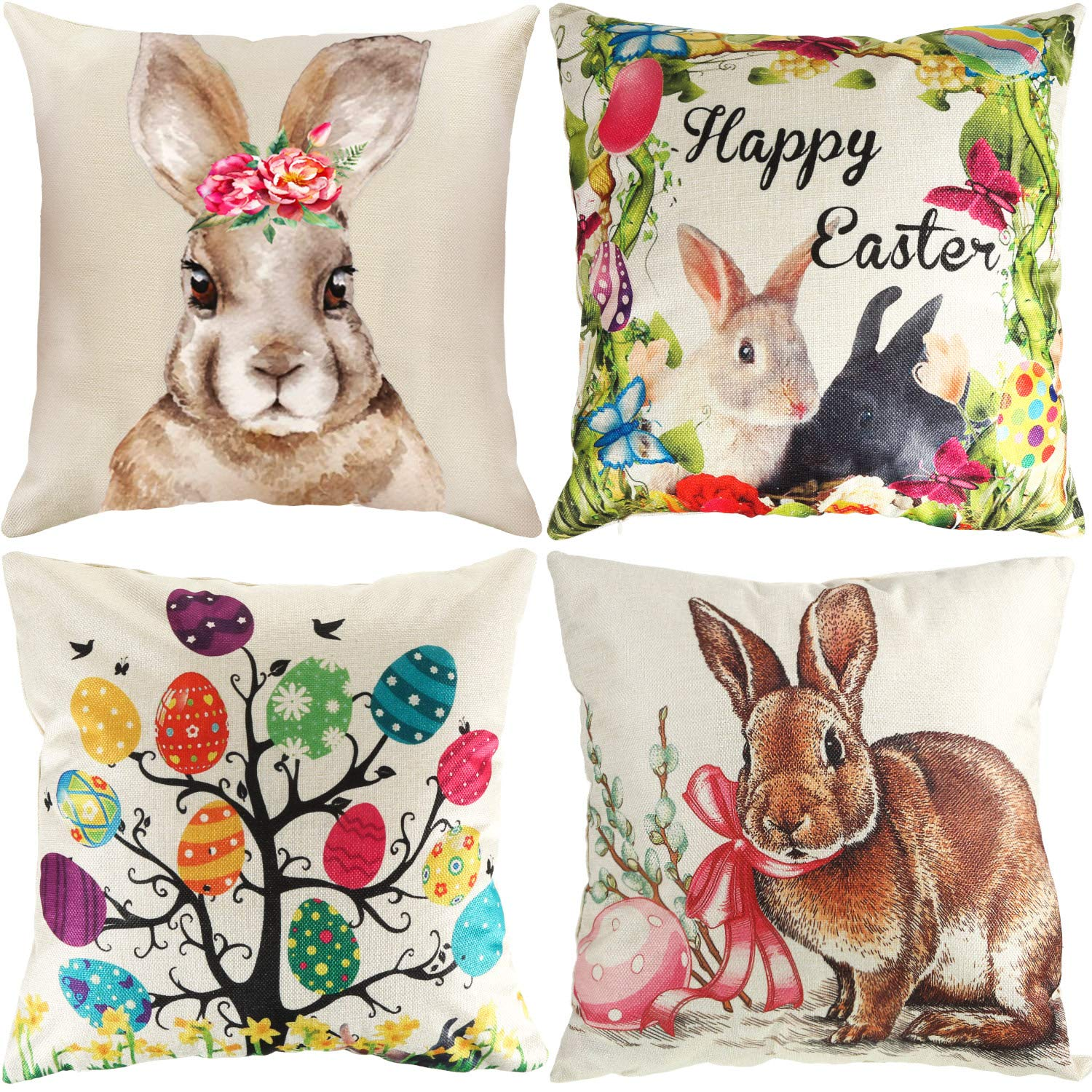18 x 18 Inch Leinuosen 4 Pieces Easter Pillow Case with Bunny Pattern Decorative Cushion Cover with Invisible Zipper for Easter Home Office Party Favor Supplies Color Set 2