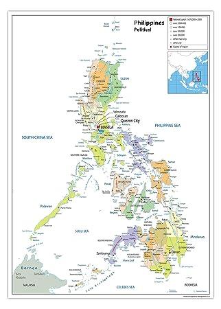 Landkarte Philippinen Politische Karte Papier Laminiert A0