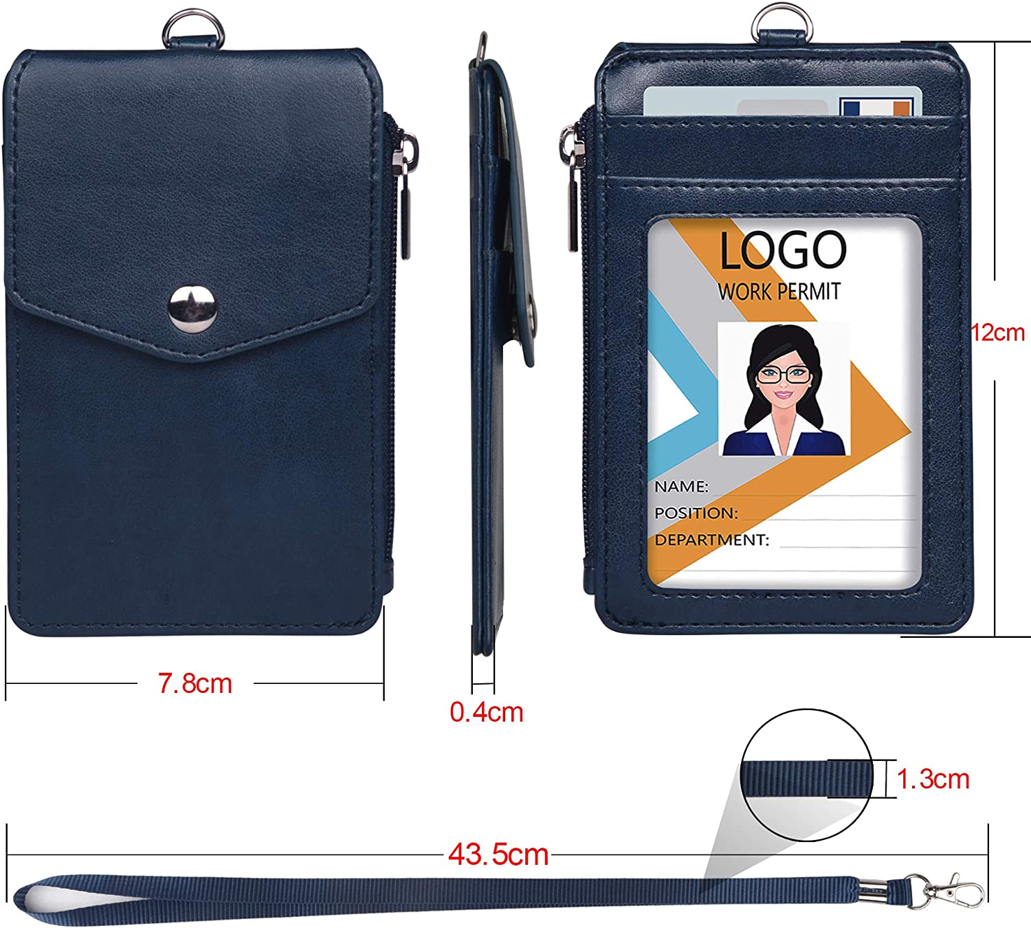 Credit Cards,Driver Licence Leather Badge Holder with Lanyard,1 Clear ID Window and 3 Card Slots with Secure Snap Button Cover Purple 1 Zipper Wallet Pocket,1 Durable Nylon Lanyard for Offices ID,School ID