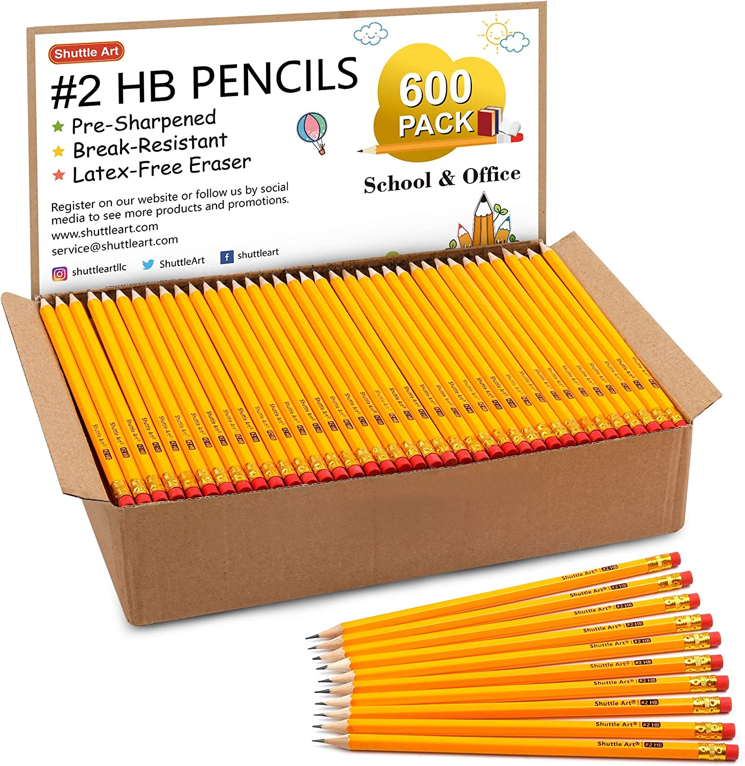 Wood-Cased #2 HB Pencils, Shuttle Art 600 Pack Sharpened Yellow Pencils with Erasers, Bulk Pack Graphite Pencils for School and Teacher Supplies, Writhing, Drawing and Sketching