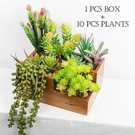 CHICVITA Artificial Succulent Plants Assorted Decorative Faux Succulents  Artificial Cactus Aloe With Wooden Garden Window Box