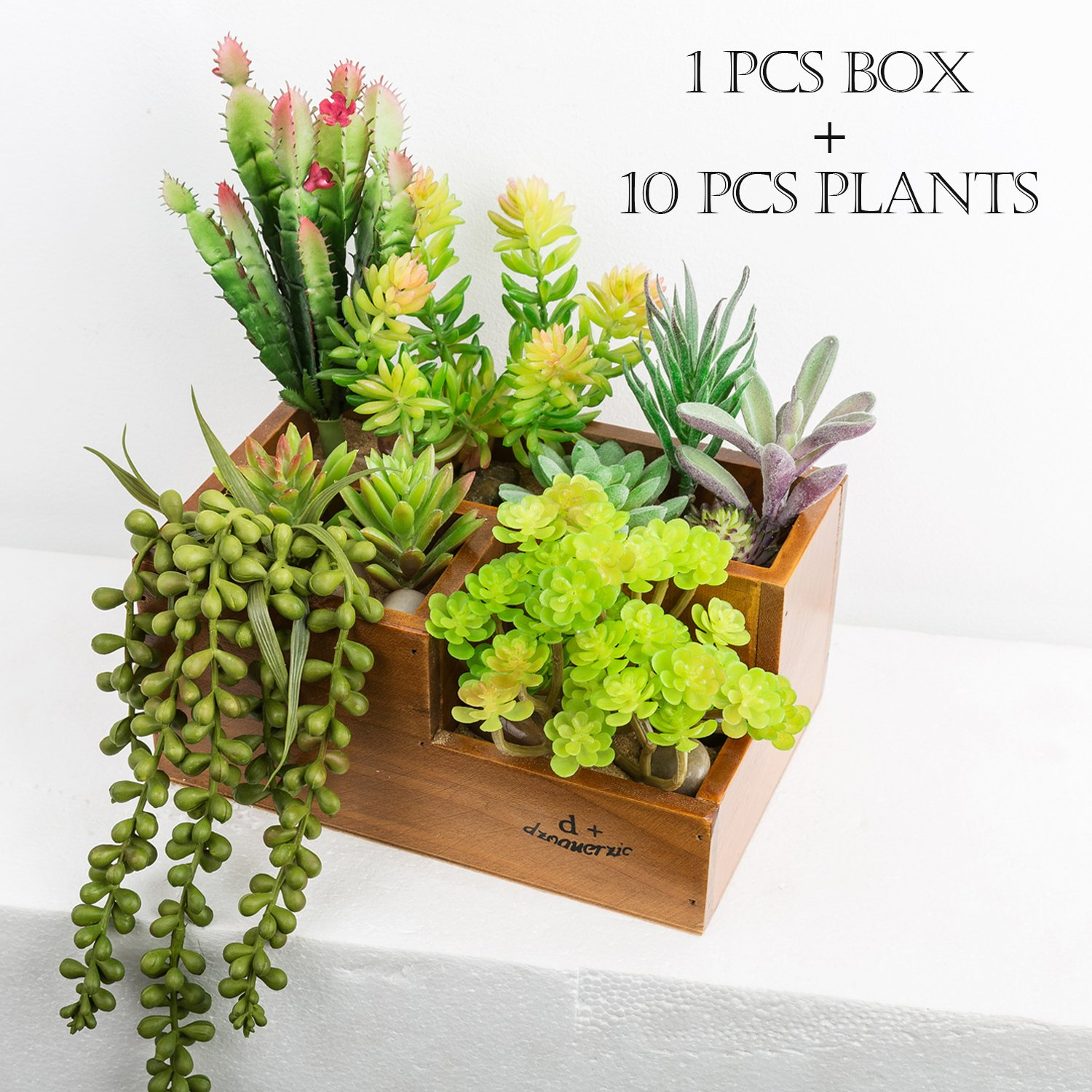 CHICVITA Artificial Succulent Plants Assorted Decorative Faux Succulents Artificial Cactus Aloe with Wooden Garden Window Box Trough Planter Succulent Flower Bed Pot (Three gird) by CHICVITA