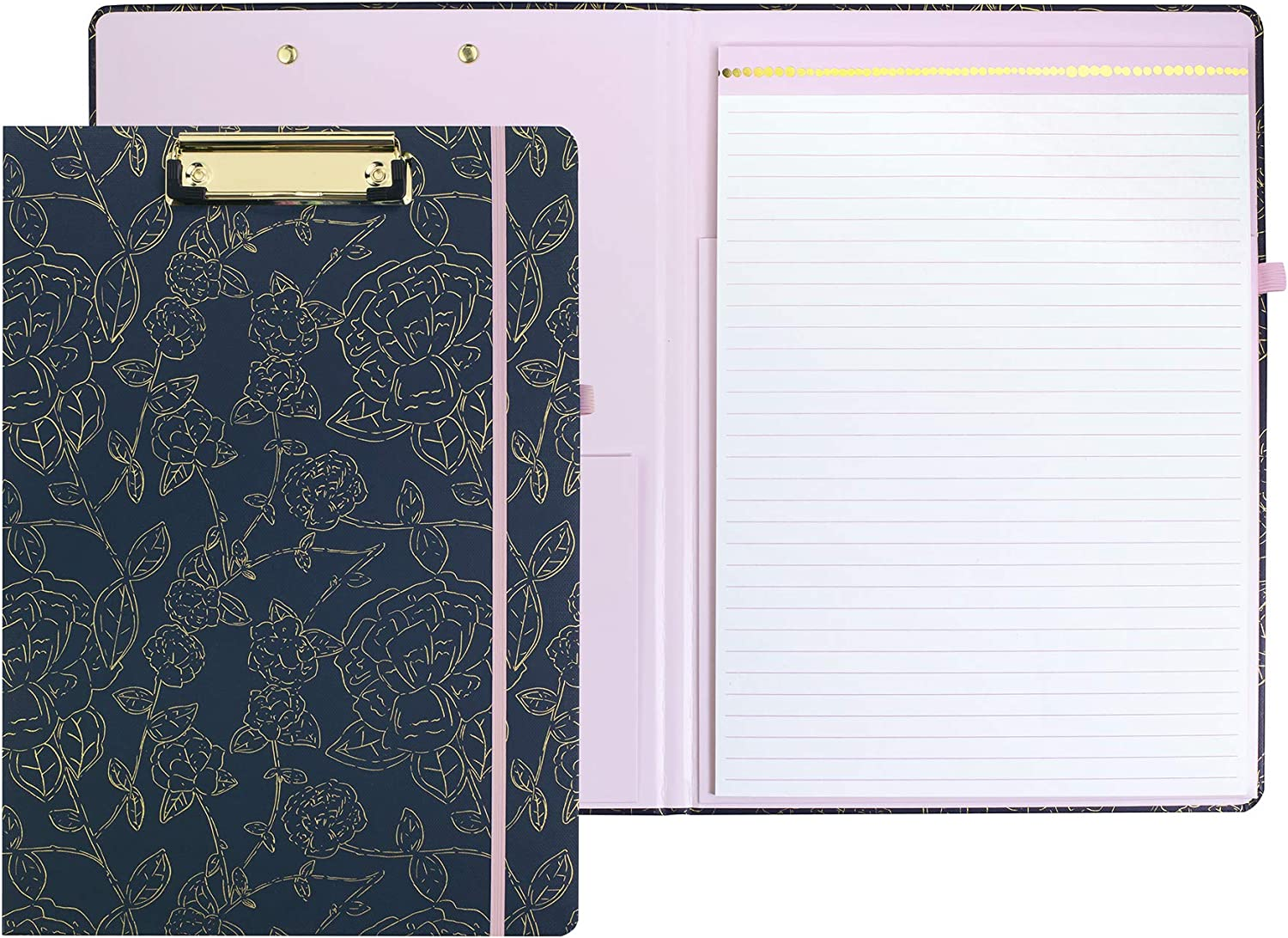 Cute Clipboard Folio with Refillable Lined Notepad and Interior Storage Pocket for Women, Stylish Metallic Gold Floral on Navy Design Clipfolio, Navy Floral