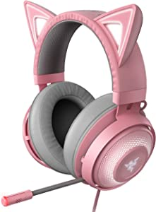 Razer Kraken Kitty RGB USB Gaming Headset: THX 7.1 Spatial Surround Sound - Chroma RGB Lighting - Retractable Active Noise Cancelling Mic - Lightweight Aluminum Frame - for PC - Quartz Pink