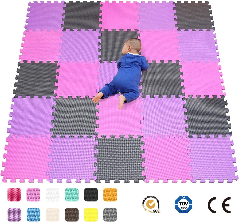 Suelo de Goma EVA Suave Rosa qqpp Alfombra Puzzle para Ni/ños Bebe Infantil Blanco Amarillo.QQC-ACEb18N 18 Piezas 30*30*1cm
