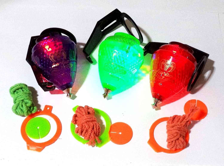 Trompo COBRA Turbo. Con Rodamiento y luz LED. Lote de 3 Trompos (uno de cada color, Azul, Rojo y Verde): Amazon.es: Juguetes y juegos