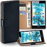 Cover OneFlow per Huawei Ascend P6 Custodia con scomparti documenti | Flip Case Astuccio Cover per cellulare apribile | Custodia cellulare Cover rotettiva Accessori Cellulare protezione Paraurti DEEP-BLACK