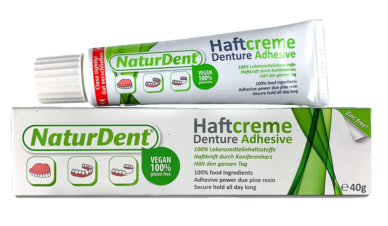 Natural Strong Waterproof Denture Adhesive | Holds Dentures Longer and Stronger | NO Yucky Taste NO Zinc NO Paraben | Smile and Eat with Confidence Great Present for Anyone with Full Partial Dentures : Beauty