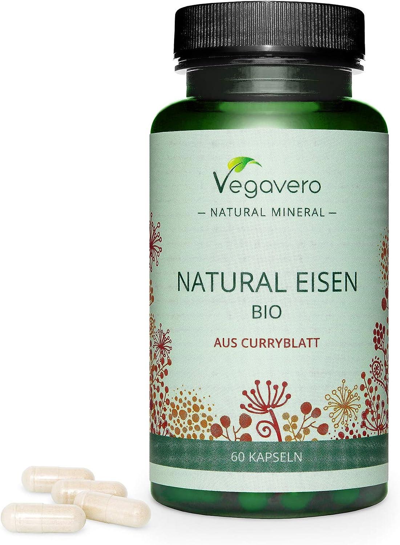 Hierro Natural BIO Vegavero® | NUEVO | Procedente de Hojas de Curry Orgánico | 14 mg = 100% CDR | Sin Aditivos Artificiales | Apto Para Veganos | Anemia + Energía + Cansancio* | 60 Cápsulas