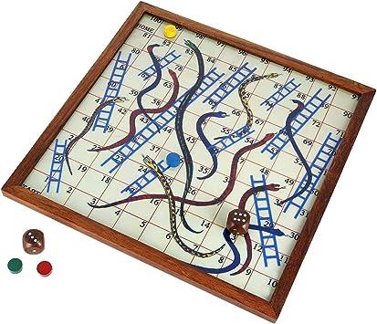 juego de mesa de madera de serpiente de madera y escalera juego clásico de lujo sesum: Amazon.es: Juguetes y juegos