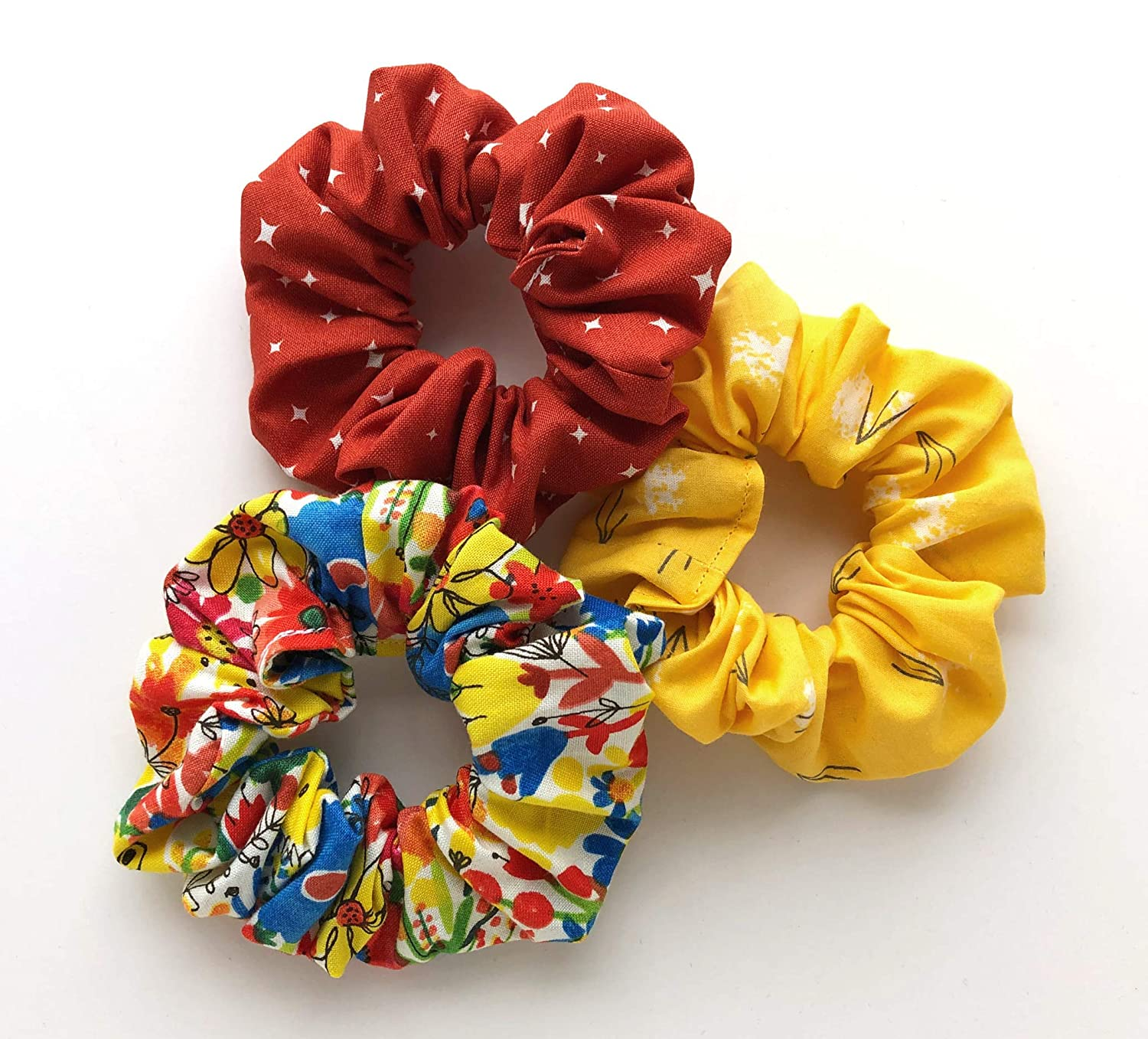ethically and sustainably made in India red and gold Christmas vibes recycled sari fabric Over-sized scrunchiehair bandtie