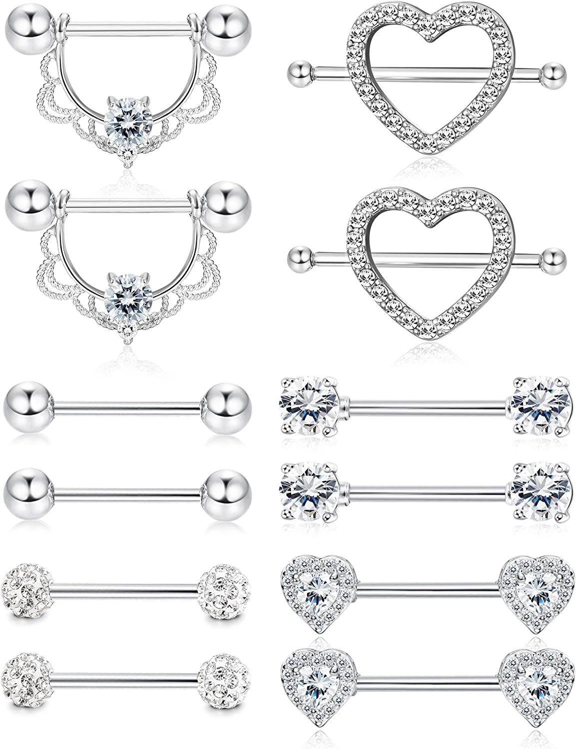 Besteel 6 Pairs 14G 316L Stainless Steel Nipple Rings Tongue Ring CZ Barbell Piercing Heart Shape Body Piercing Jewelry for Women Men