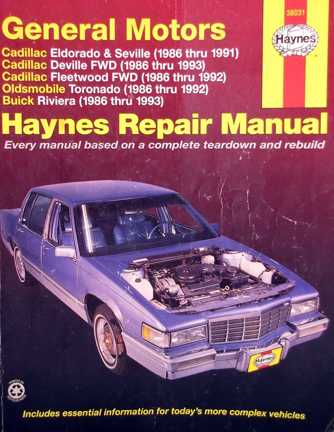 Amazon.com : 1986-1993 Haynes Repair Manual - Cadillac FWD Cars - #38031 :  Everything Else