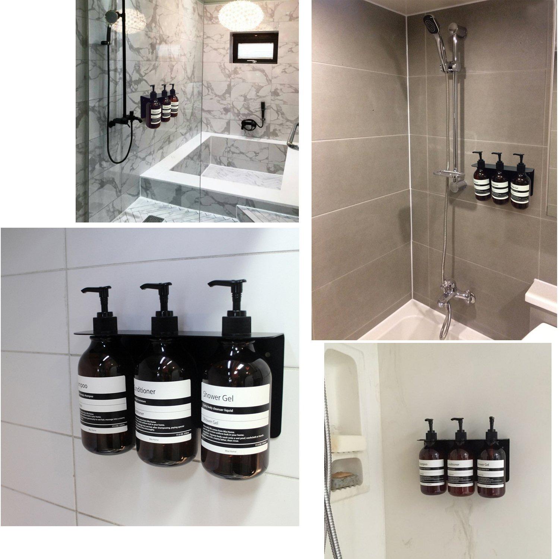 Mia Home Shower Dispenser 3 Chambers 17.5 oz , Easy installation, 3 empty PET bottles, Steel Holder