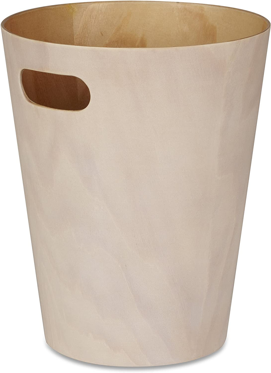 Umbra Woodrow, 2 Gallon Modern Wooden Trash Can Wastebasket or Recycling Bin for Home or Office, White