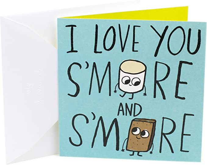 Blank Inside I Love You S/'More Every Day Cute and Funny Anniversary Greeting Card Pun