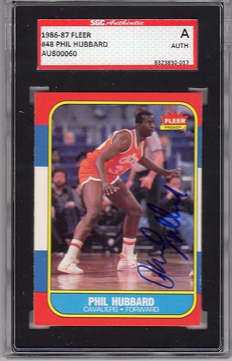 668e9e7d2 1986-87 Fleer Phil Hubbard Autographed Rookie Card  48 SGC Cavaliers ...