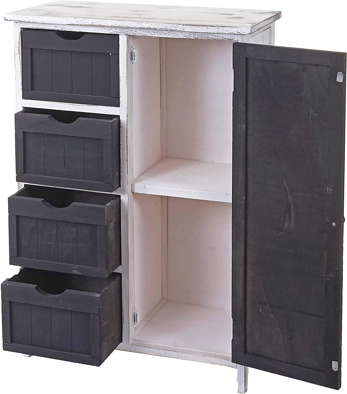 Mendler Serie Vintage scaffale cassettiera HWC-D12 cassetti e sportello 30x55x82cm ~ Grigio