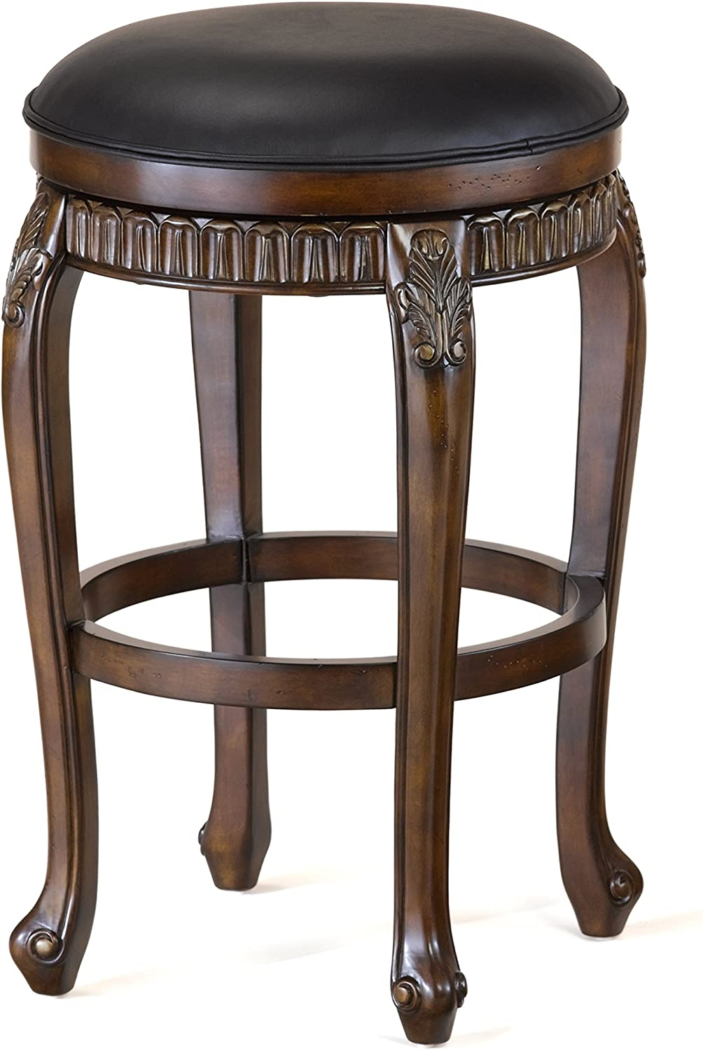 """Hillsdale Fleur de Lis Backless Swivel Counter Stool, 24"""", Distressed Cherry with Copper Highlights"""