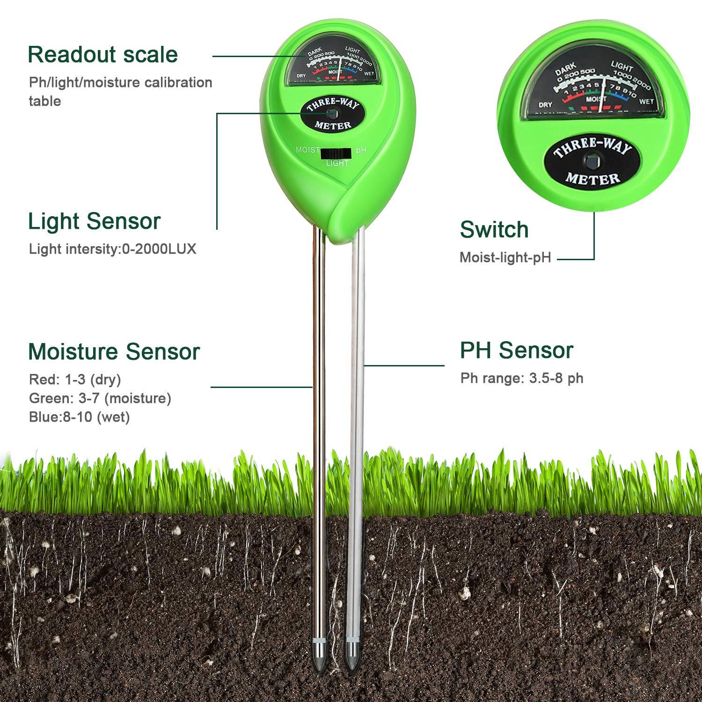 2 Paquetes Medidor de pH de Suelo Medidor de Humedad 3 en 1 Kit de Probador de Tierra con Humedad//Luz//pH Herramientas de Jardiner/ía para Cuidado de Planta Interior y Exterior