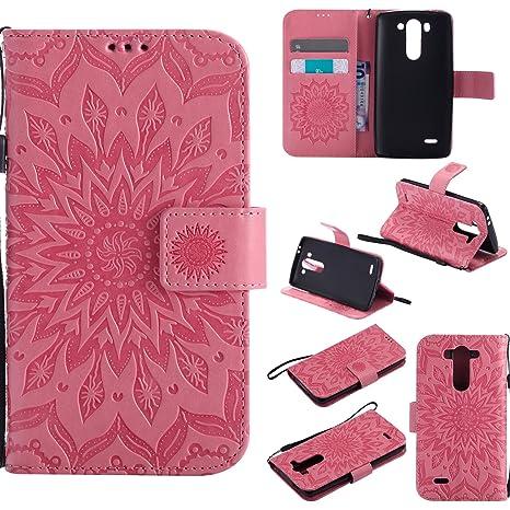 YYhin Cáscara Case para Funda LG G3 Mini/LG G3s, Cartera extraíble de Piel magnética Desmontable con Monedero, Funda de sujeción para.(Rosado)