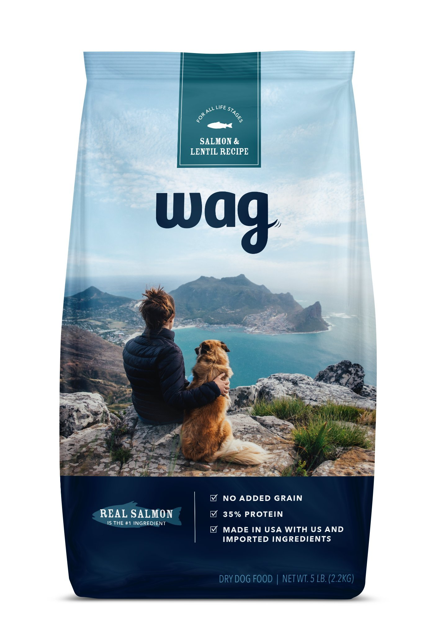 Amazon Brand - Wag Dry Dog Food Trial-Size Bag, No Added Grain, Salmon & Lentil Recipe