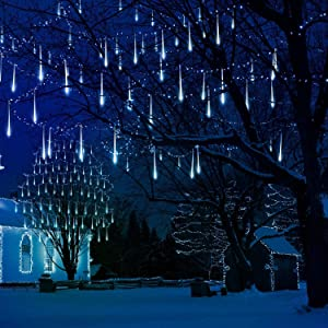 Falling Rain Lights 13.8ft 8 Tube 224 LEDs, Meteor Shower Lights Waterproof, Icicle Snow Fall String Cascading Lights, Christmas Lights for Holiday Party Wedding, Garden Decoration (White)