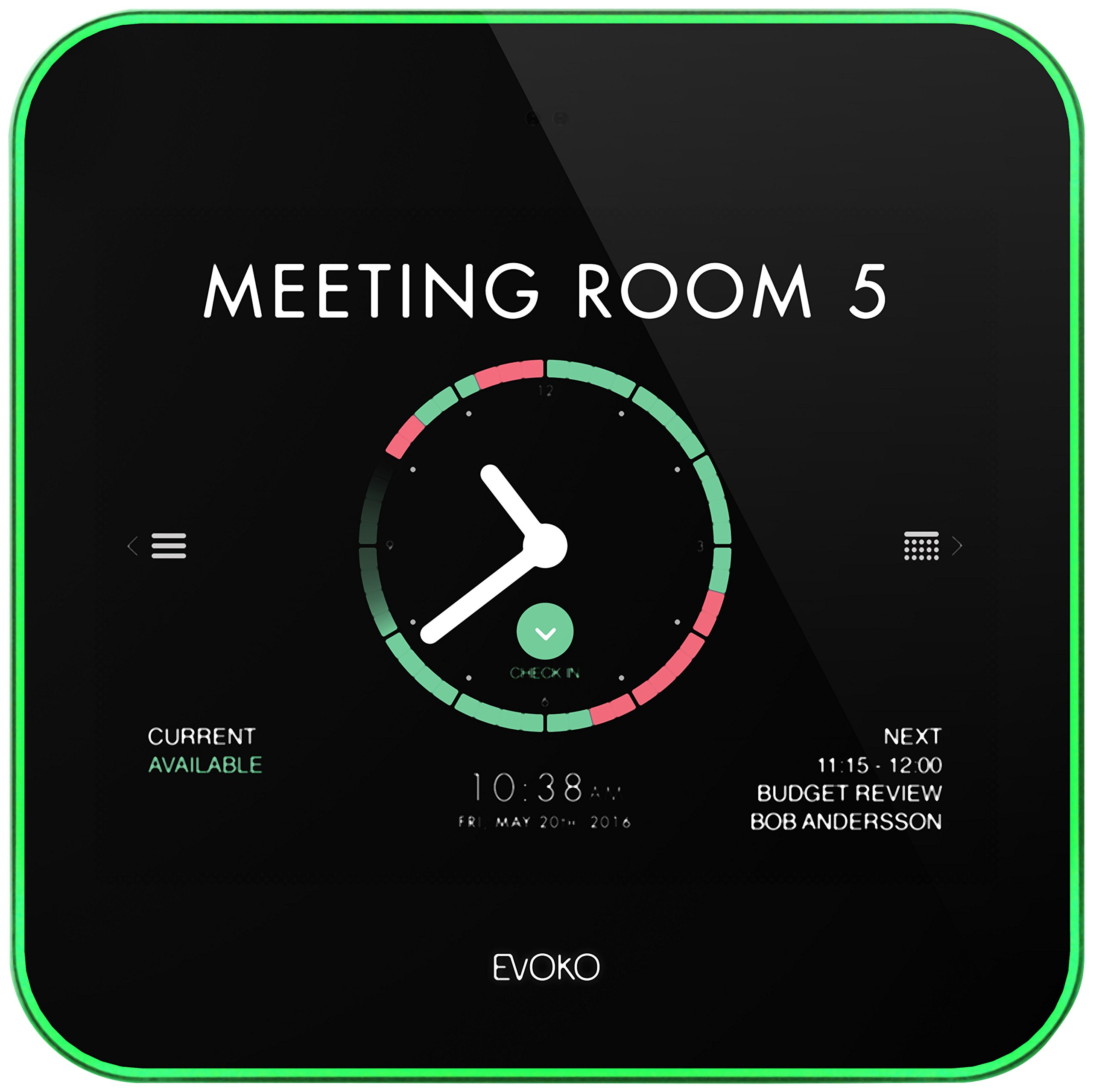 Evoko Liso Room Manager 8 touch incl. wall- and glasmount, ERM2001 (incl. wall- and glasmount Device Input Power Sources: PoE Í 48 V DC by RJ45. NB, No PSU included)