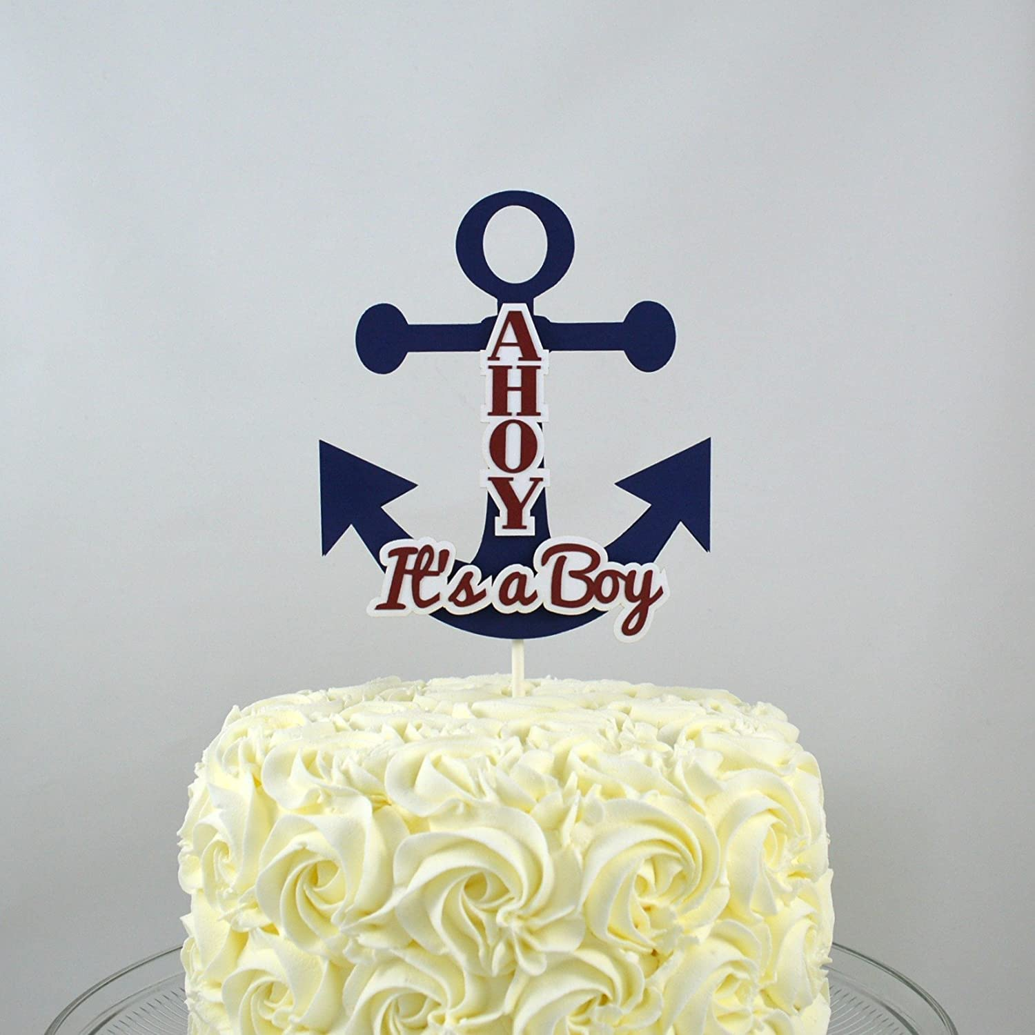 Ahoy It's a Boy Nautical Anchor Baby Shower Cake Topper