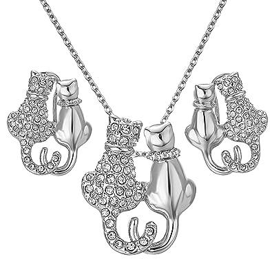 Amazon.com: Yoursfs doble cats-shaped austriaca cristales ...
