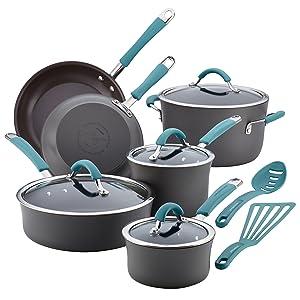 Rachael Ray Cucina Hard Anodized Nonstick Cookware Set (87641), 12 Piece