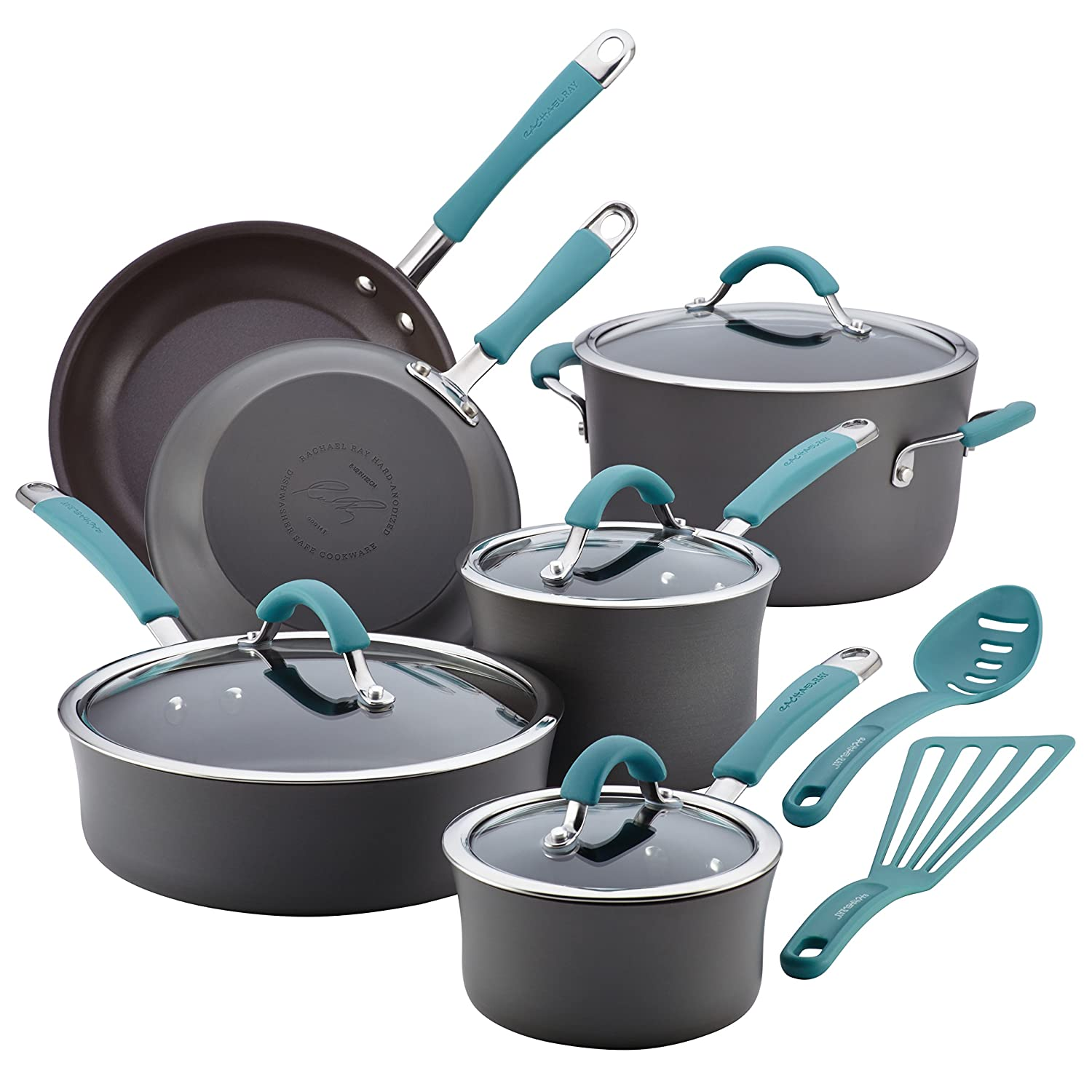 Rachael Ray Cucina Hard-Anodized Aluminum Nonstick Pots and Pans Cookware Set, 12-Piece, Gray, Agave Blue Handles