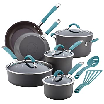Rachael Ray Cucina Hard-Anodized Nonstick 12-Piece Cookware Set: Amazon.es: Hogar
