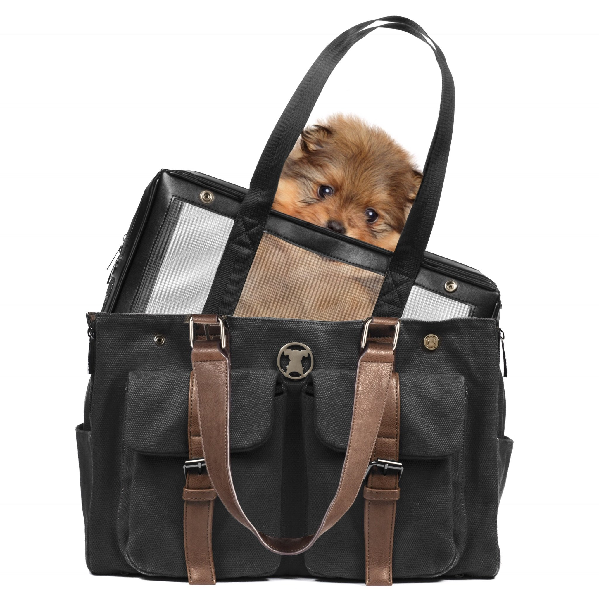 MISO PUP Weekend Black Canvas Interchangeable Airline Approved Pet Carrier Combo with Pockets for Small Dogs (Pet Carrier Base & Shell Tote) by MISO PUP
