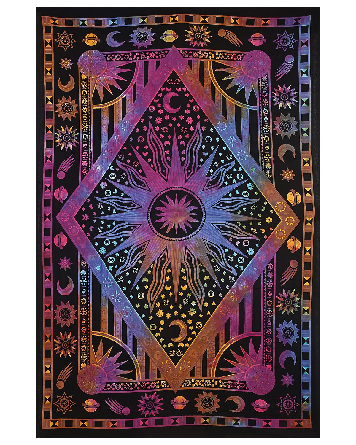 Twin Blue Tie Dye Purple Burning Sun Tapestry Celestial Sun Moon Planet Bohemian Tapestry Wall Hanging Boho Tapestry Hippie Hippy Beach Coverlet Curtain Tapestry