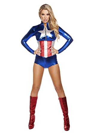 amazoncom adult womens 2 piece sexy miss captain america romper halloween party costume clothing